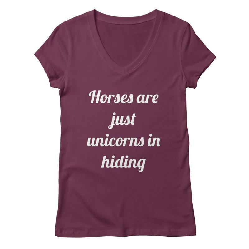 Unicorns in Hiding Women's Regular V-Neck by Birchmark