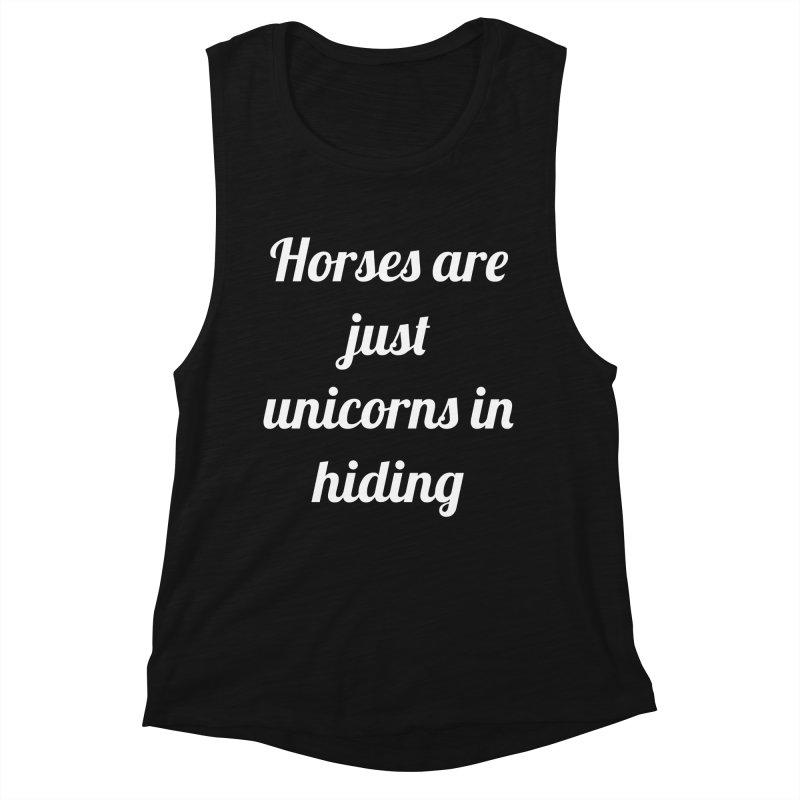 Unicorns in Hiding Women's Muscle Tank by Birchmark