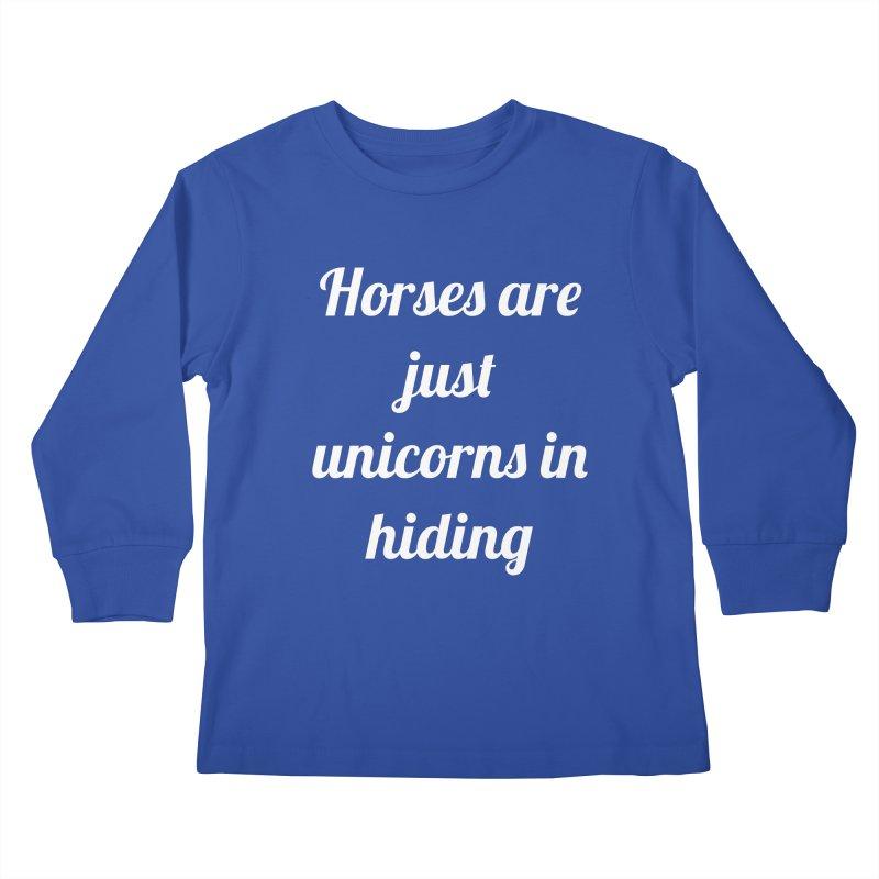 Unicorns in Hiding Kids Longsleeve T-Shirt by Birchmark