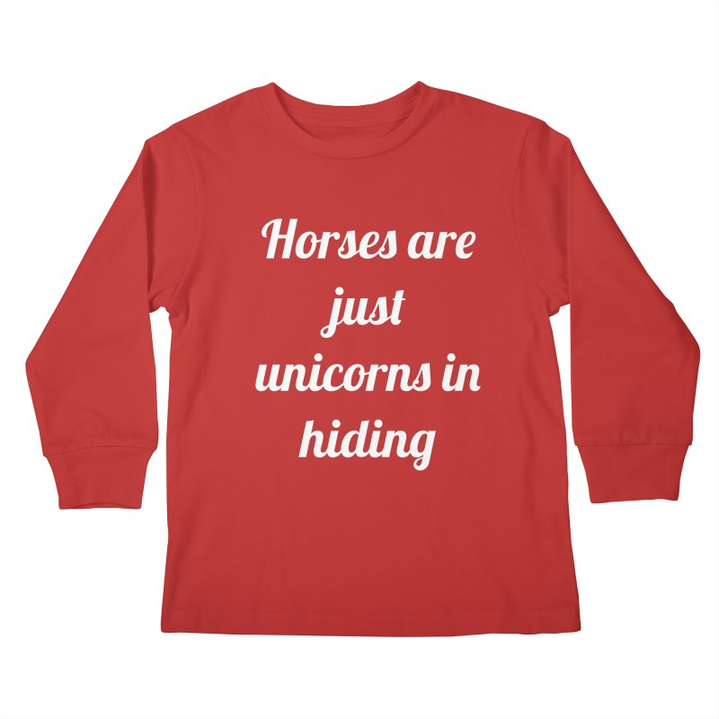 Unicorns in Hiding Kids Longsleeve T-Shirt by Birchmark