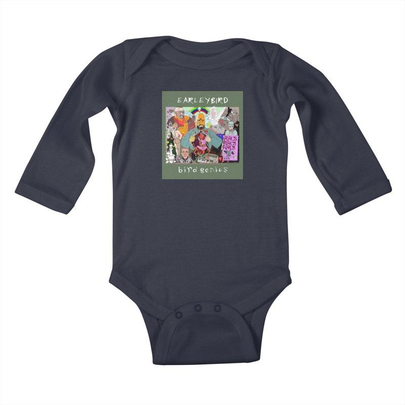 BIRD GENIUS Kids Baby Longsleeve Bodysuit by birdboogie's Artist Shop