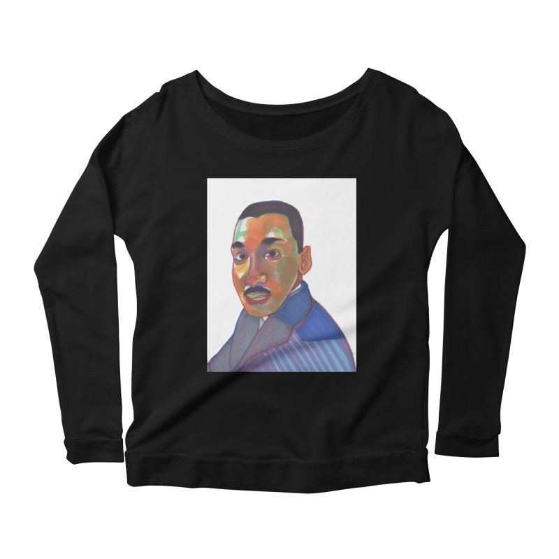MLK Women's Scoop Neck Longsleeve T-Shirt by birdboogie's Artist Shop