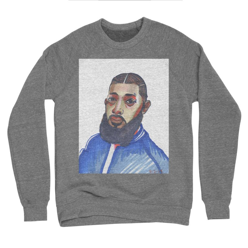 NIPSEY HUSSLE Men's Sponge Fleece Sweatshirt by birdboogie's Artist Shop