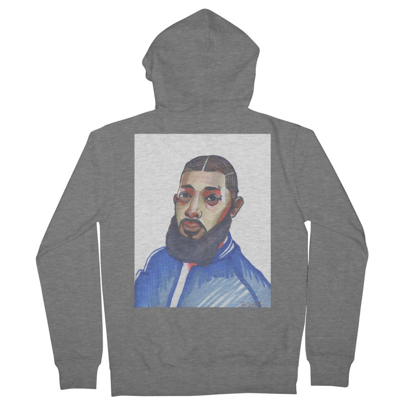 NIPSEY HUSSLE Men's French Terry Zip-Up Hoody by birdboogie's Artist Shop