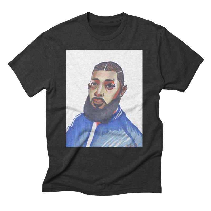 NIPSEY HUSSLE Men's Triblend T-Shirt by birdboogie's Artist Shop