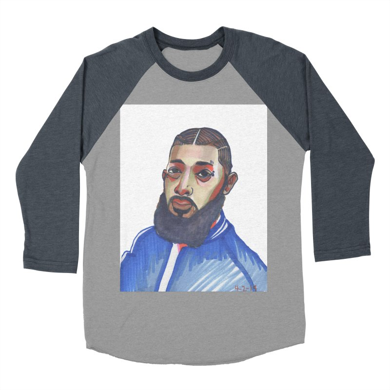 NIPSEY HUSSLE Men's Baseball Triblend Longsleeve T-Shirt by birdboogie's Artist Shop
