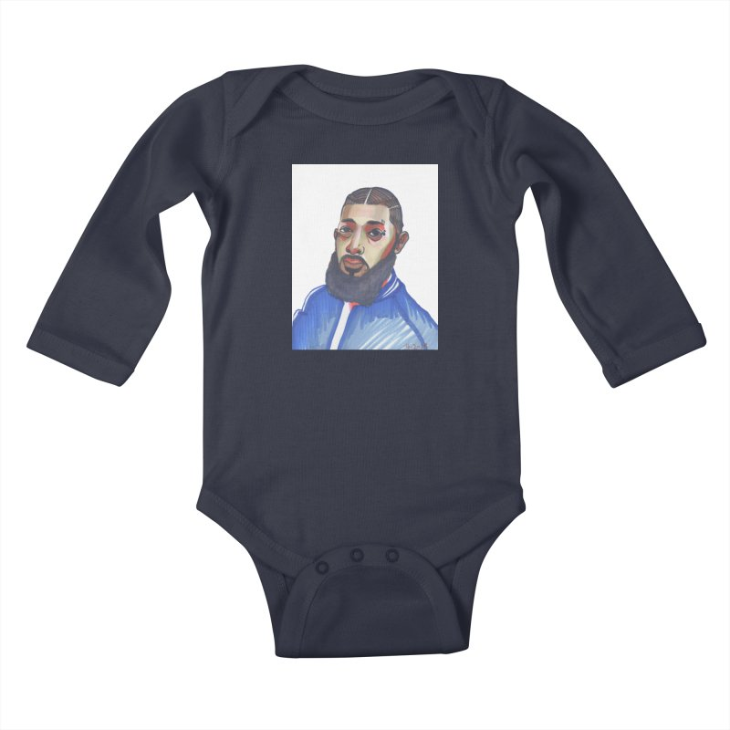 NIPSEY HUSSLE Kids Baby Longsleeve Bodysuit by birdboogie's Artist Shop