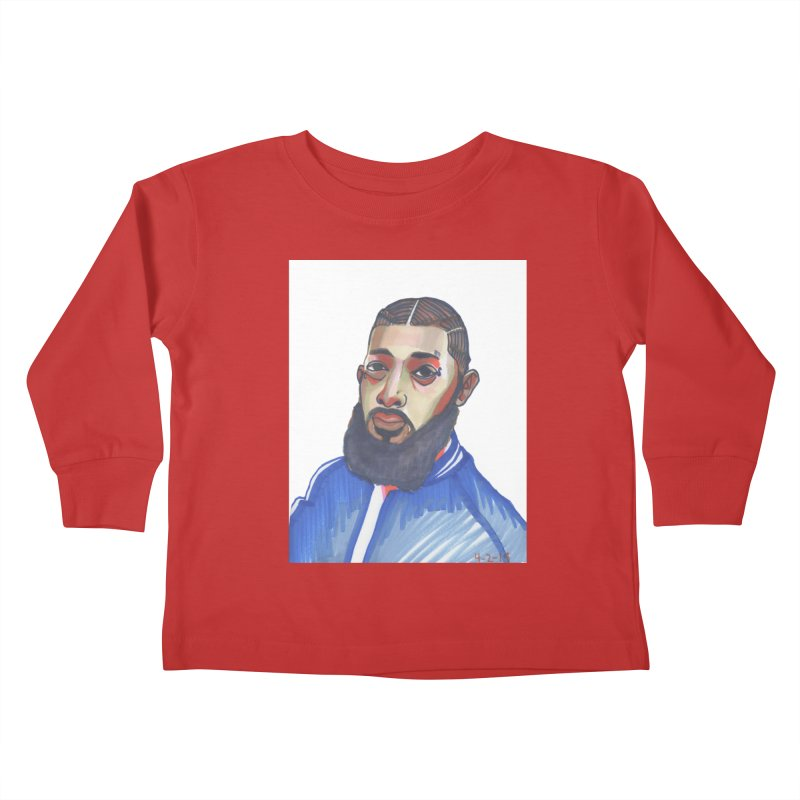 NIPSEY HUSSLE Kids Toddler Longsleeve T-Shirt by birdboogie's Artist Shop