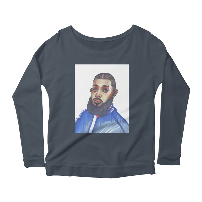 NIPSEY HUSSLE Women's Scoop Neck Longsleeve T-Shirt by birdboogie's Artist Shop