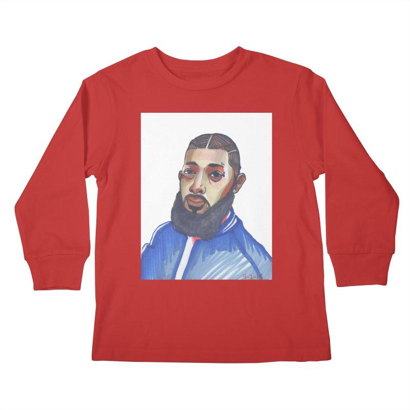 NIPSEY HUSSLE Kids Longsleeve T-Shirt by birdboogie's Artist Shop