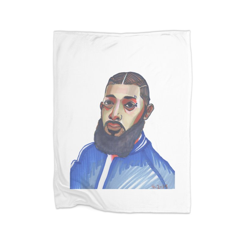 NIPSEY HUSSLE Home Fleece Blanket Blanket by birdboogie's Artist Shop