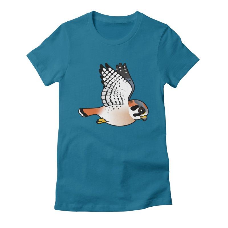 Birdorable American Kestrel in Flight Women's Fitted T-Shirt by birdorable's Artist Shop