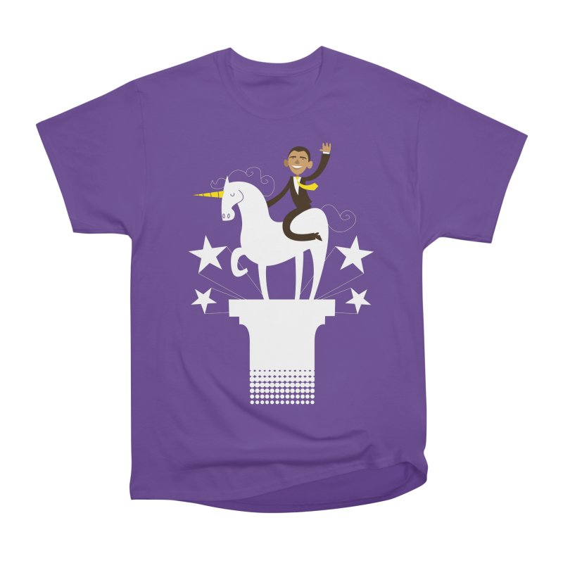 Classic Obama on a Unicorn Women's Classic Unisex T-Shirt by bishopia's Shop