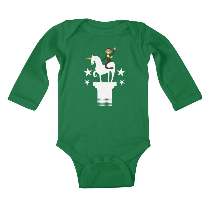 Classic Obama on a Unicorn Kids Baby Longsleeve Bodysuit by bishopia's Shop