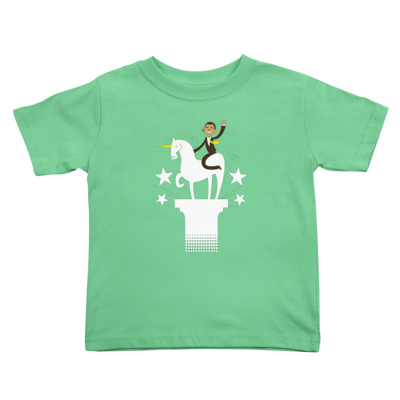 Classic Obama on a Unicorn Kids Toddler T-Shirt by bishopia's Shop