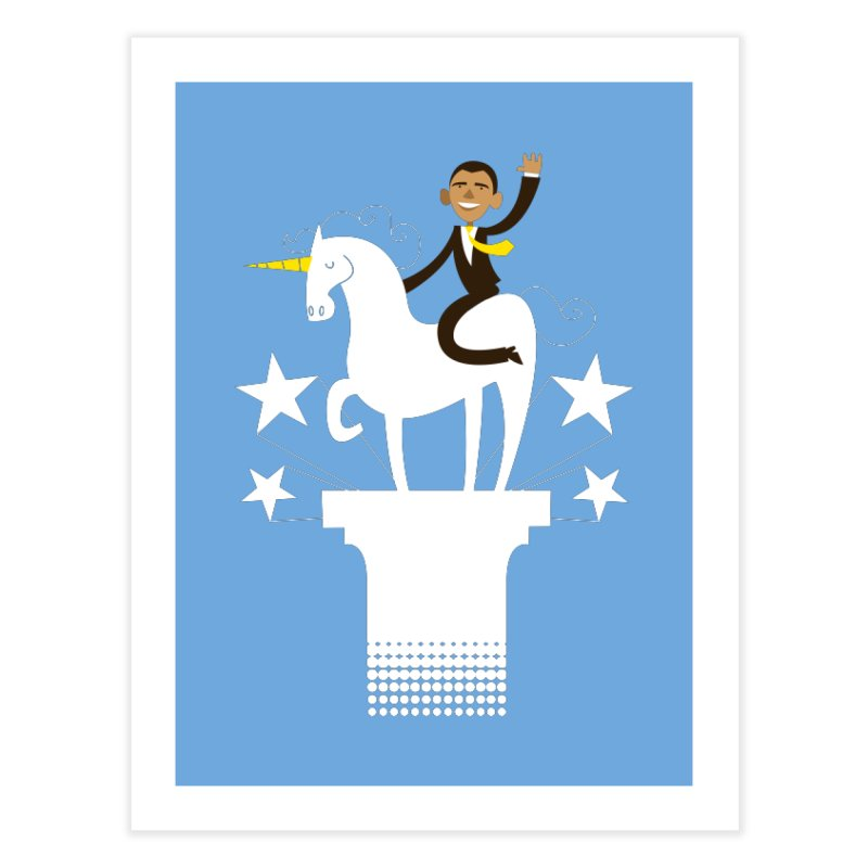 Classic Obama on a Unicorn Home Fine Art Print by bishopia's Shop