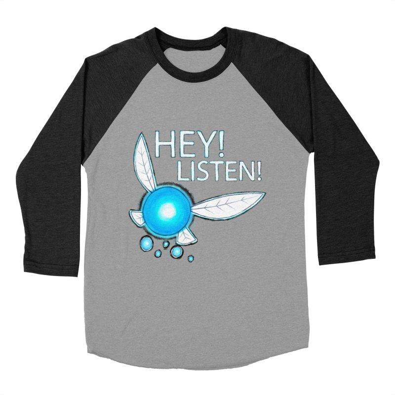 Hey Listen  in Men's Baseball Triblend T-Shirt Heather Onyx Sleeves by bitemefox's Artist Shop
