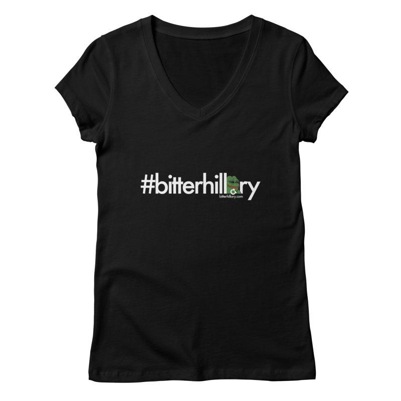 #bitterhillary #pepe Women's Regular V-Neck by #bitterhillary