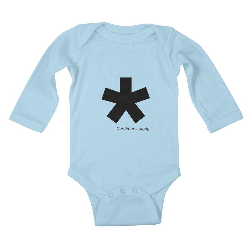 Abstract Asterix. Black design for conditions apply design. Kids Baby Longsleeve Bodysuit by BIZGEN AUSTRALIA