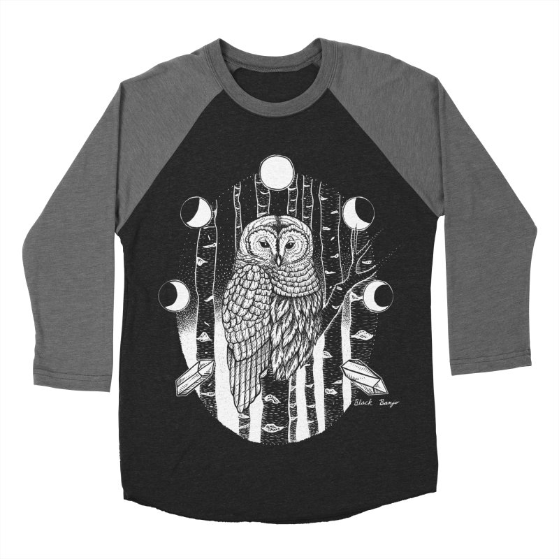 Owl & Birch Women's Baseball Triblend Longsleeve T-Shirt by Black Banjo Arts