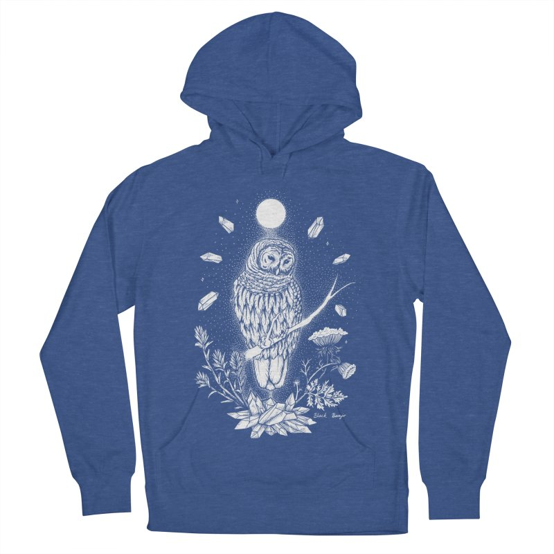 Owl & Crystals Women's French Terry Pullover Hoody by Black Banjo Arts