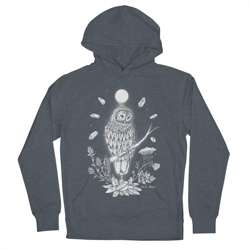 Owl & Crystals Men's French Terry Pullover Hoody by Black Banjo Arts