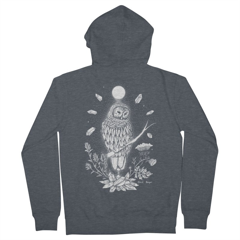 Owl & Crystals Men's French Terry Zip-Up Hoody by Black Banjo Arts