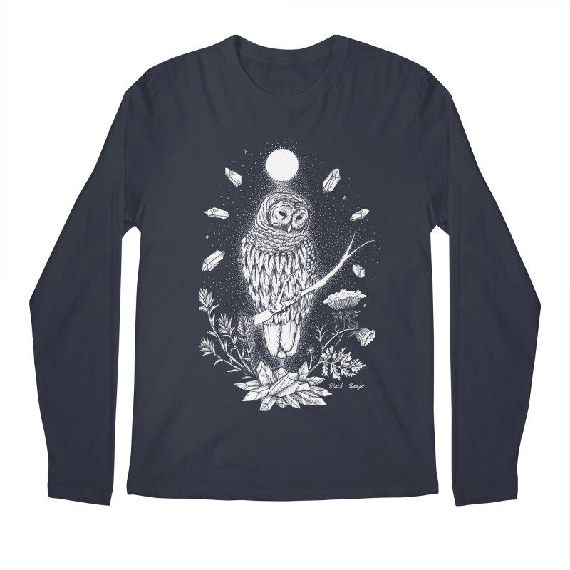 Owl & Crystals Men's Regular Longsleeve T-Shirt by Black Banjo Arts