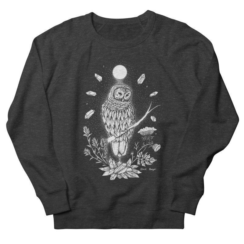 Owl & Crystals Women's French Terry Sweatshirt by Black Banjo Arts
