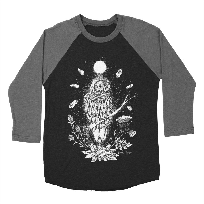 Owl & Crystals Women's Baseball Triblend Longsleeve T-Shirt by Black Banjo Arts