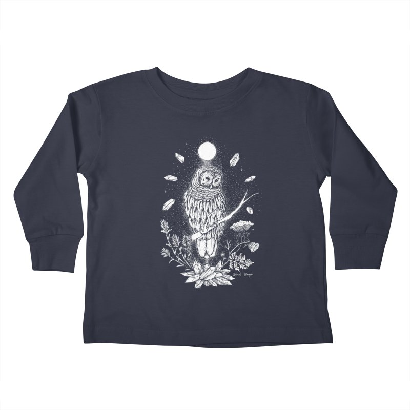Owl & Crystals Kids Toddler Longsleeve T-Shirt by Black Banjo Arts