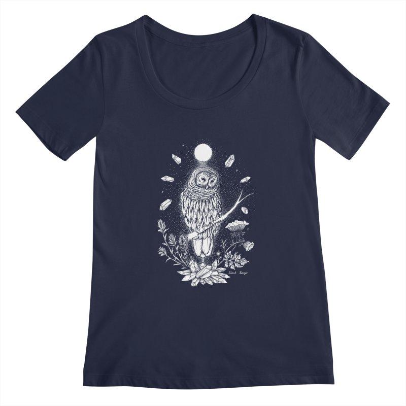 Owl & Crystals Women's Regular Scoop Neck by Black Banjo Arts