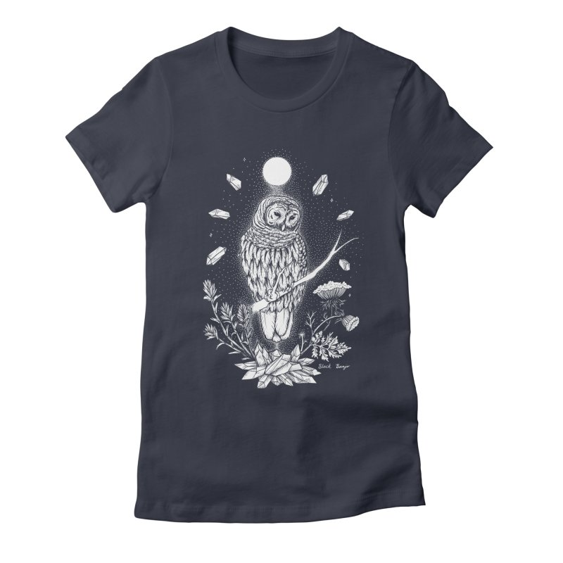 Owl & Crystals Women's Fitted T-Shirt by Black Banjo Arts
