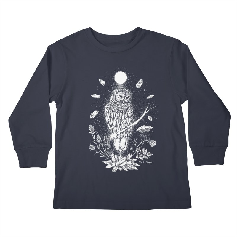 Owl & Crystals Kids Longsleeve T-Shirt by Black Banjo Arts