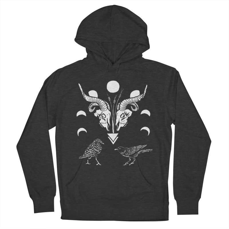 Two Skulls Women's French Terry Pullover Hoody by Black Banjo Arts