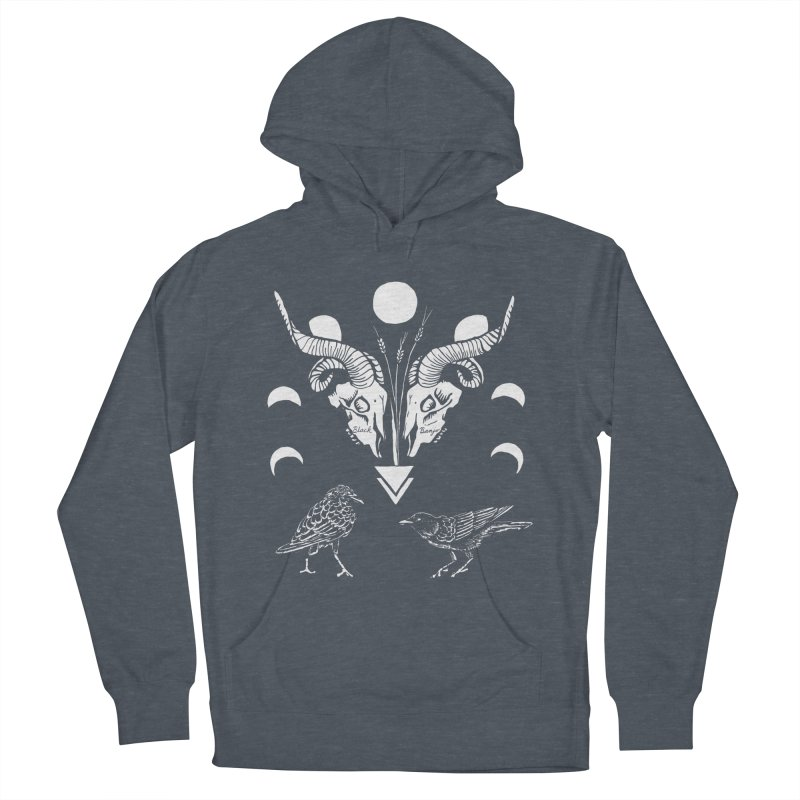 Two Skulls Men's French Terry Pullover Hoody by Black Banjo Arts