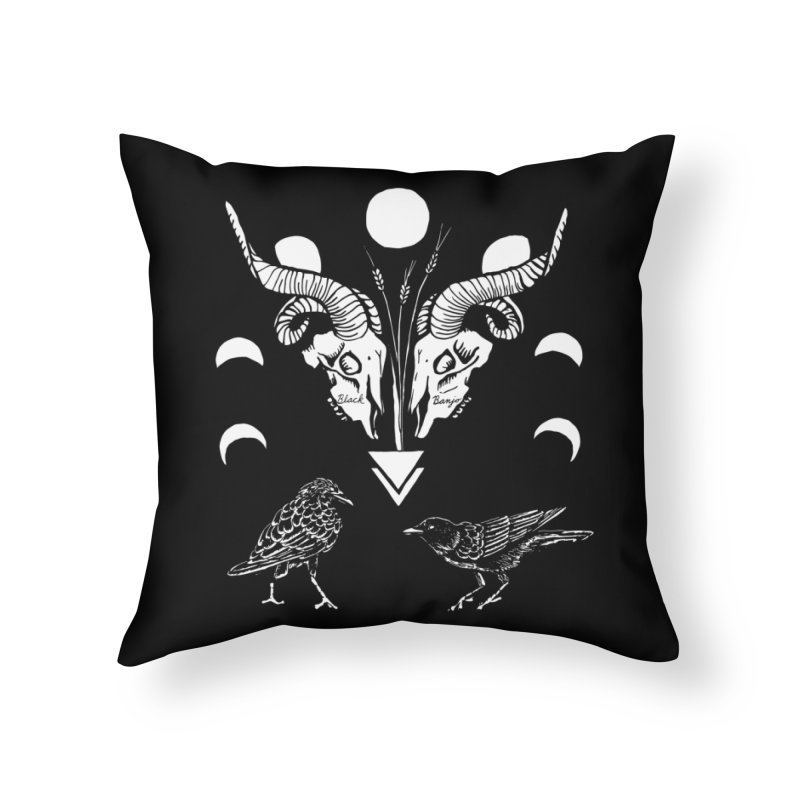 Two Skulls Home Throw Pillow by Black Banjo Arts