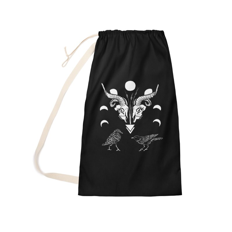 Two Skulls Accessories Laundry Bag Bag by Black Banjo Arts