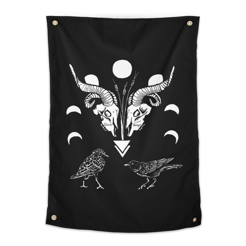Two Skulls Home Tapestry by Black Banjo Arts