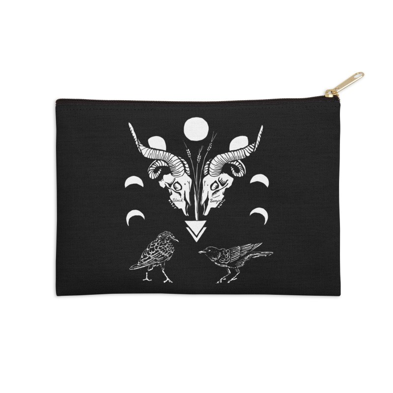 Two Skulls Accessories Zip Pouch by Black Banjo Arts