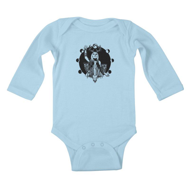 Blue Moon Kids Baby Longsleeve Bodysuit by Black Banjo Arts
