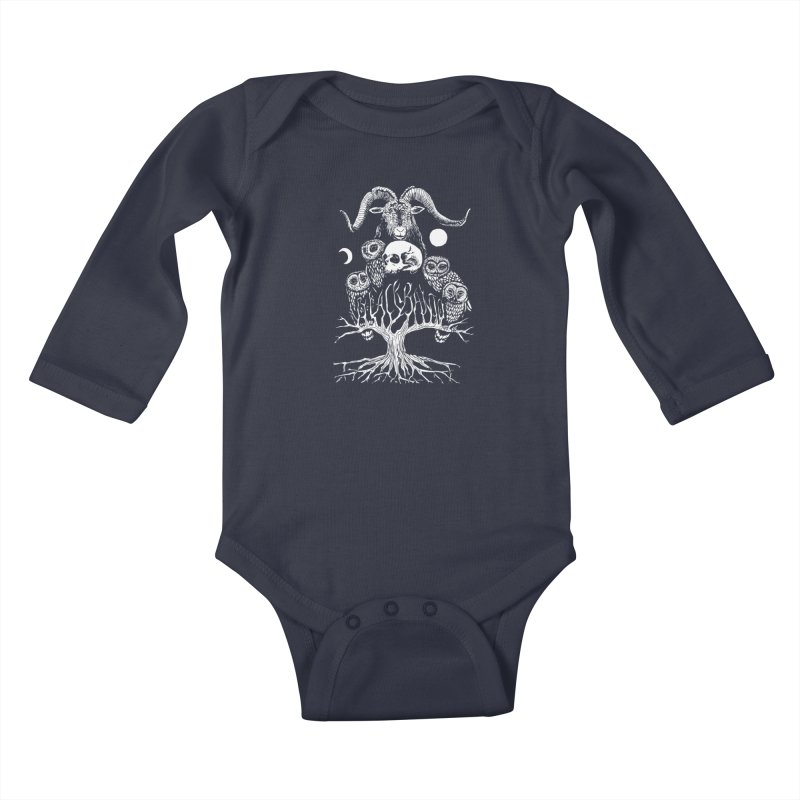 The Horned One's Messengers Kids Baby Longsleeve Bodysuit by Black Banjo Arts
