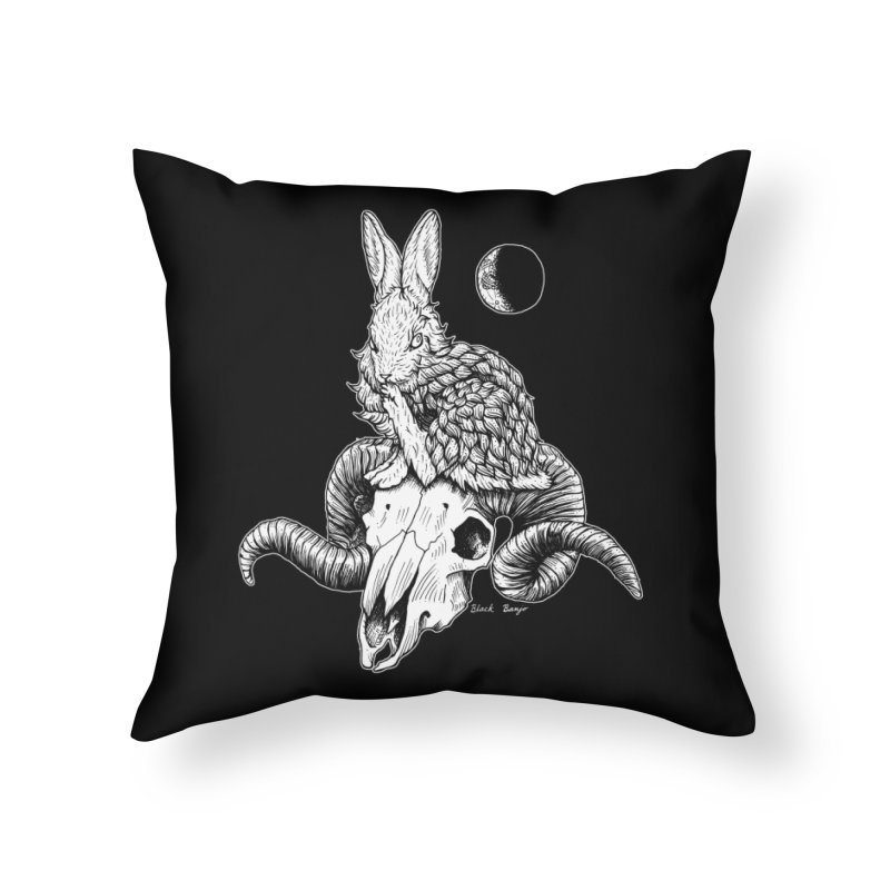 Rabbit & Ram Home Throw Pillow by Black Banjo Arts
