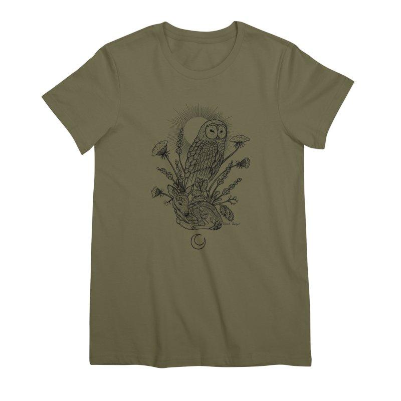 Owl & Fawn Women's Premium T-Shirt by Black Banjo Arts