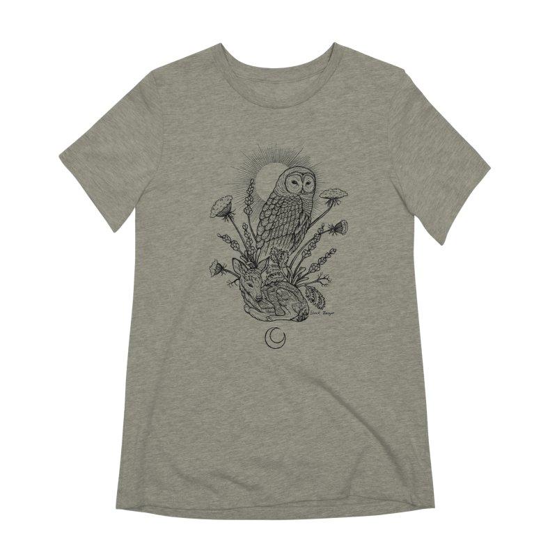 Owl & Fawn Women's Extra Soft T-Shirt by Black Banjo Arts