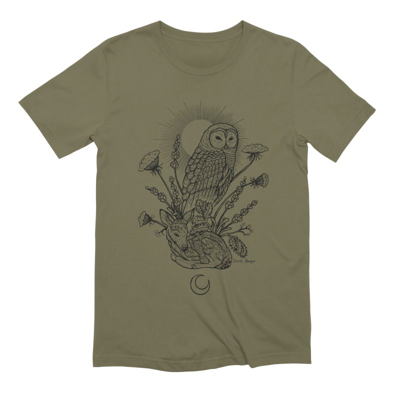 Owl & Fawn Men's Extra Soft T-Shirt by Black Banjo Arts