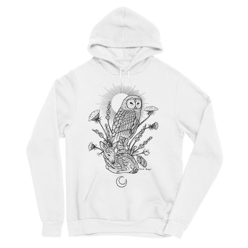Owl & Fawn Men's Sponge Fleece Pullover Hoody by Black Banjo Arts