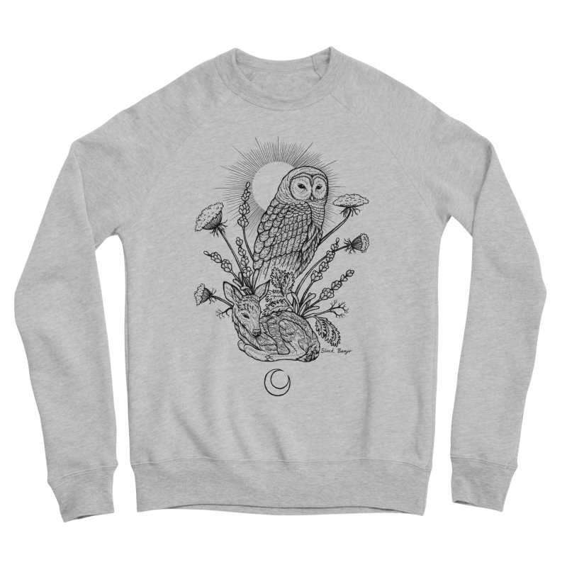 Owl & Fawn Men's Sponge Fleece Sweatshirt by Black Banjo Arts