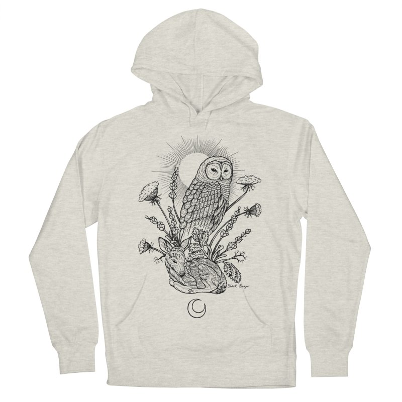 Owl & Fawn Women's French Terry Pullover Hoody by Black Banjo Arts
