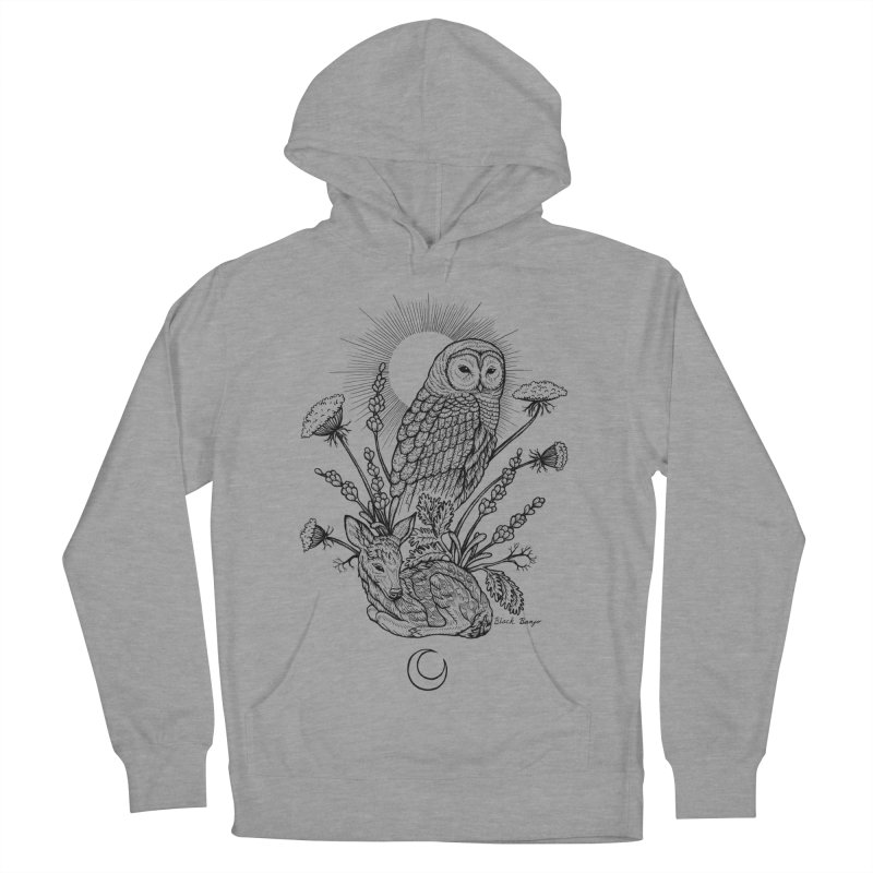 Owl & Fawn Men's French Terry Pullover Hoody by Black Banjo Arts
